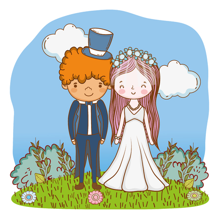 couple wedding on nature landscape cute cartoon vector illustration graphic design Illustration