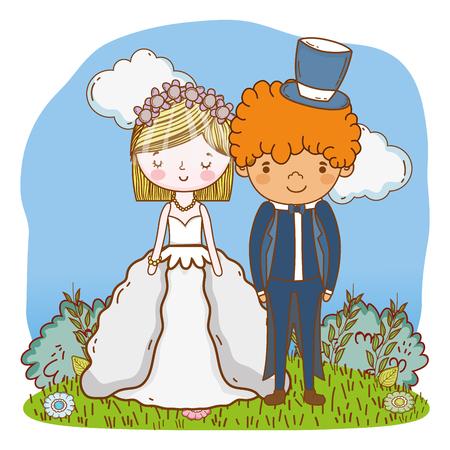 couple wedding on nature landscape cute cartoon vector illustration graphic design Stock Illustratie