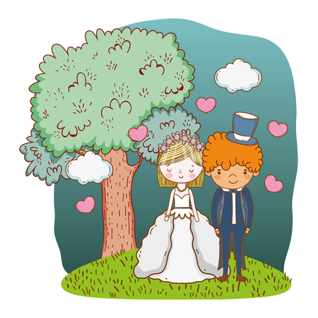 couple wedding on nature landscape cute cartoon vector illustration graphic design Stockfoto - 127714619