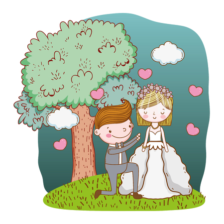 couple wedding proposal on nature landscape cute cartoon vector illustration graphic design