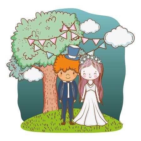 couple wedding on nature landscape cute cartoon vector illustration graphic design Stockfoto - 127714626