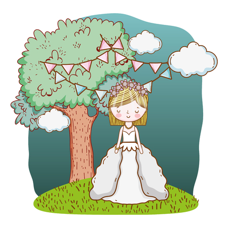 bride wedding cute with dress cartoon vector illustration graphic design