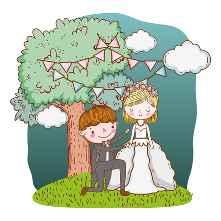 couple wedding proposal on nature landscape cute cartoon vector illustration graphic design