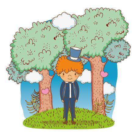groom wedding male at nature cute cartoon vector illustration graphic design