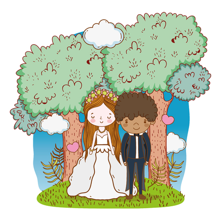 couple wedding on nature landscape cute cartoon vector illustration graphic design Stockfoto - 127714636
