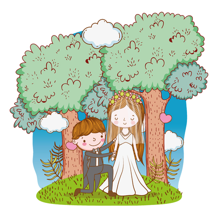 couple wedding proposal on nature landscape cute cartoon vector illustration graphic design Stockfoto - 127714638