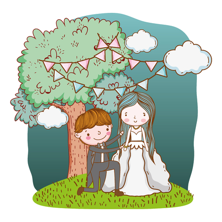 couple wedding proposal on nature landscape cute cartoon vector illustration graphic design Stockfoto - 127714639