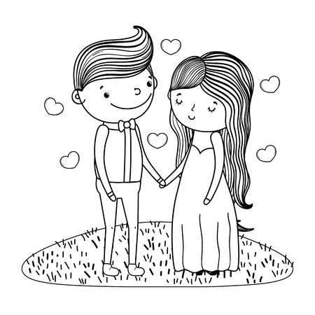 couple wedding on grass with hearts cute cartoon vector illustration graphic design Stockfoto - 127714648