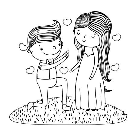 couple wedding proposal cute cartoon vector illustration graphic design