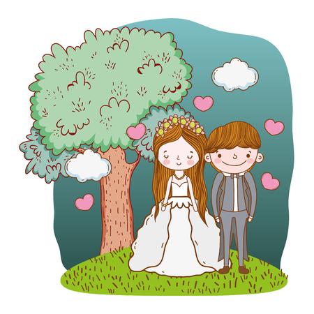 couple wedding on nature landscape cute cartoon vector illustration graphic design Stockfoto - 127714670