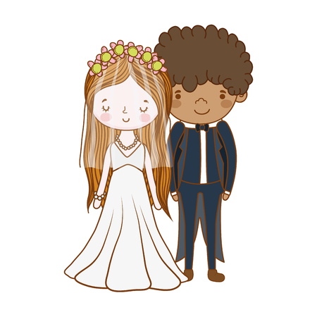 couple wedding cute cartoon vector illustration graphic design