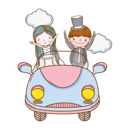 mariage couple mariage sur voiture vintage cute cartoon vector illustration graphic design