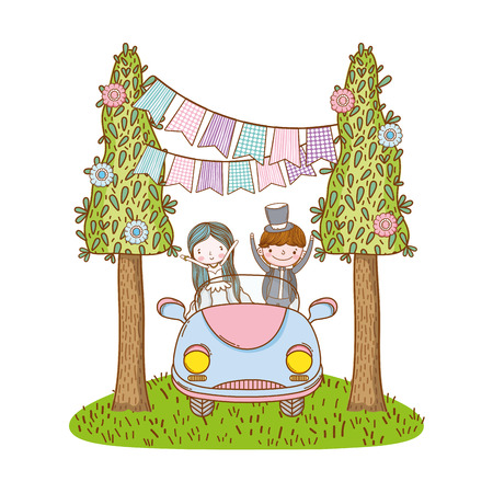 wedding couple marriage on vintage car at nature cute cartoon vector illustration graphic design