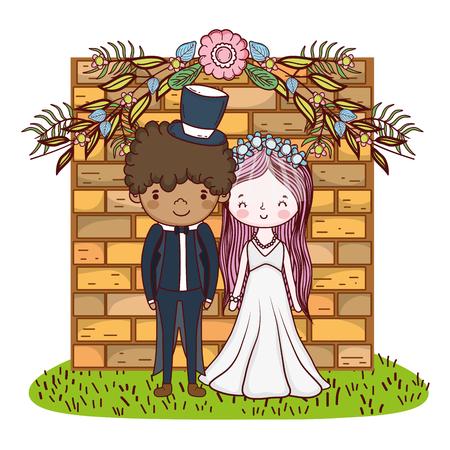 couple wedding cute cartoon over bricks entrance vector illustration graphic design Illusztráció