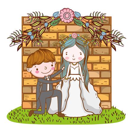 couple wedding cute cartoon over bricks entrance vector illustration graphic design Illustration