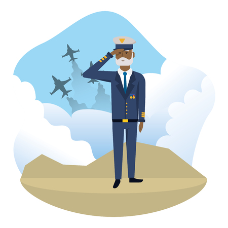 Man with airforce uniform, Concept of Army forces profession patriotic and american Vector illustration