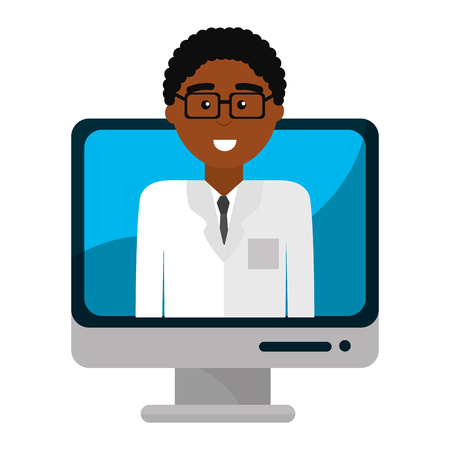 Doctor inside computer, Concept of medical health care hospital emergency and clinic Vector illustration  イラスト・ベクター素材