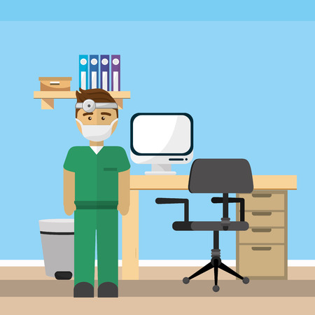 Doctor office design, Concept of medical health care hospital emergency and clinic Vector illustration Illustration