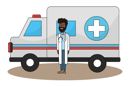 Doctor and ambulance, Concept of medical health care hospital emergency and clinic Vector illustration