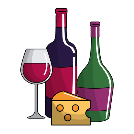 Isolated bottles and cup, Concept of wine winery alcohol drink beverage and restaurant Vector illustration