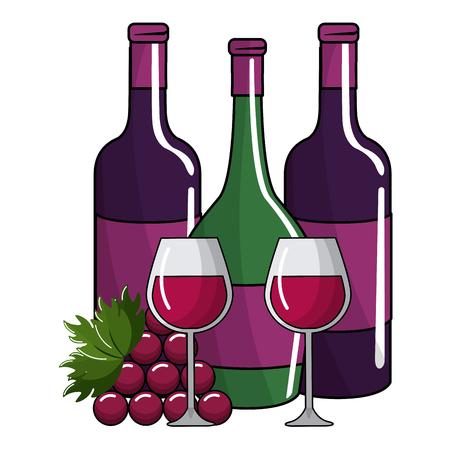 Botellas y tazas aisladas, concepto de vino, bodega, bebida alcohólica, bebida y restaurante, ilustración vectorial