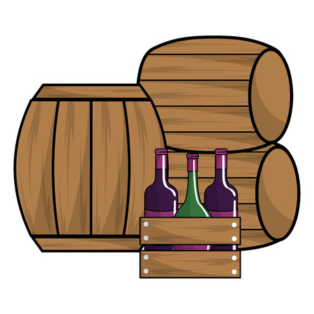 Isolated bottles and barrels, Concept of wine winery alcohol drink beverage and restaurant Vector illustration