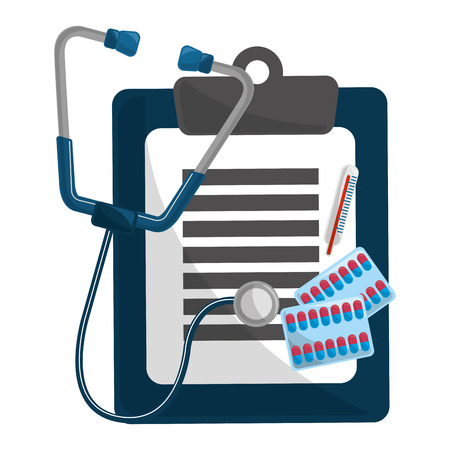 Stethoscope and history design, Concept of medical health care hospital emergency and clinic Vector illustration