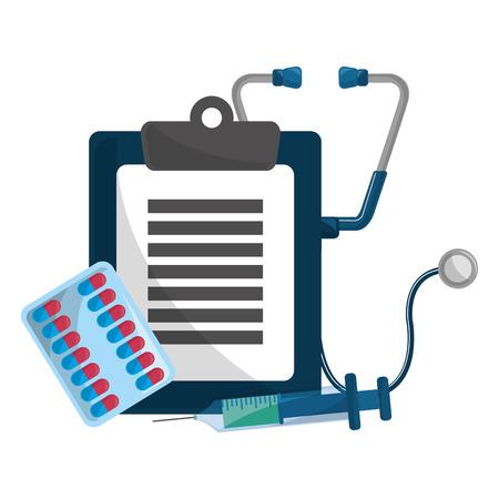 Geschiedenisontwerp, concept van medische gezondheidszorg, ziekenhuisnoodgeval en kliniek Vectorillustratie