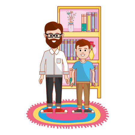 Father with son, Family relationship avatar generation and lifestyle Colorful design Vector illustration