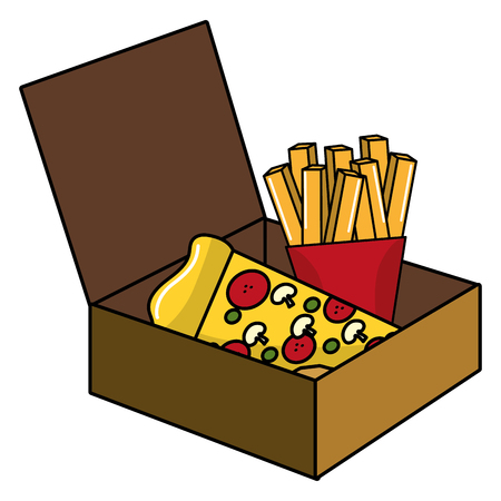 Pizza and french fries design, Fast food urban menu dinner lunch and tasty theme Vector illustration Ilustração
