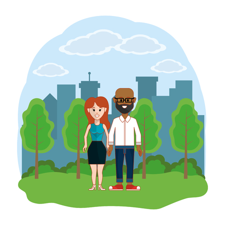 Couple of woman and man, Relationship family love and romance Colorful design Vector illustration Illusztráció