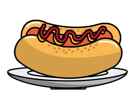 Hot dog design, Fast food urban menu dinner lunch and tasty theme Vector illustration Stock Vector - 112040549