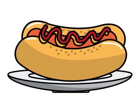 Hot dog design, Fast food urban menu dinner lunch and tasty theme Vector illustration Illustration
