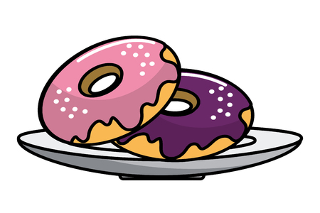Donuts design, Fast food urban menu dinner lunch and tasty theme Vector illustration