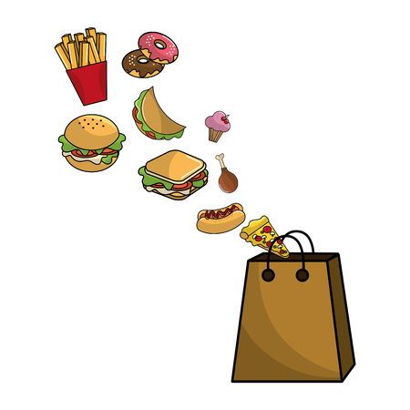 Bag design, Fast food urban menu dinner lunch and tasty theme Vector illustration
