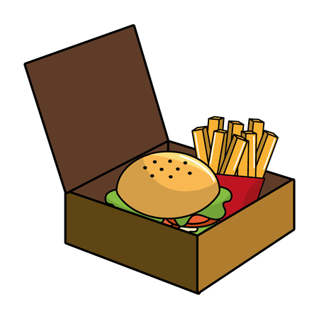Hamburger and french fries design, Fast food urban menu dinner lunch and tasty theme Vector illustration