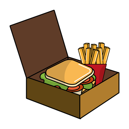 Sandwich and french fries design, Fast food urban menu dinner lunch and tasty theme Vector illustration
