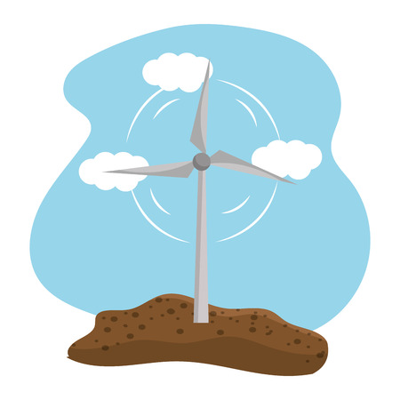 Isolated eco windmill, Concept of Ecology renewable conservation saving support bio and environment Vector illustration Illustration
