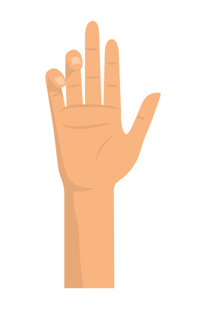 human body concept represented by hand illustration, flat and isolated design