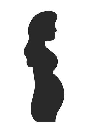Pregnant woman design, Concept of belly pregnancy maternity female mother and expecting Vector illustration  イラスト・ベクター素材