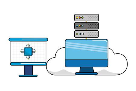 Computer design, Web hosting data center base and security system theme Vector illustration Illustration