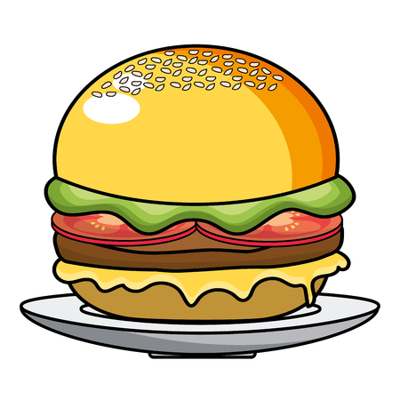 Hamburger design, Fast food urban menu dinner lunch and tasty theme Vector illustration