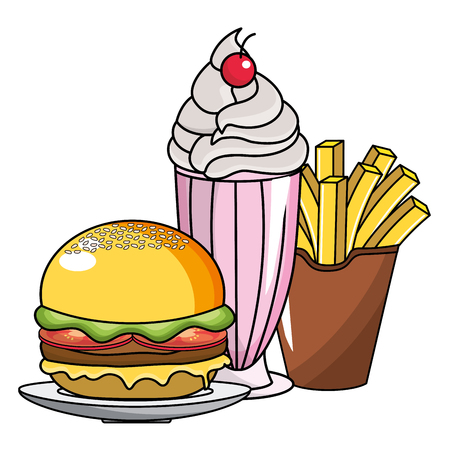 Hamburger milkshake and french fries design, Fast food urban menu dinner lunch and tasty theme Vector illustration Çizim