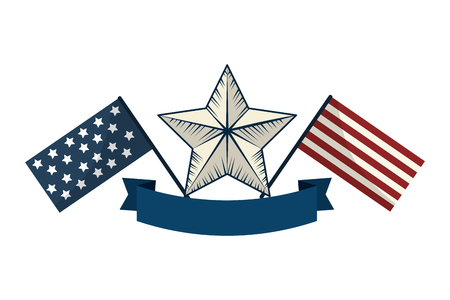 Flag design, United states america usa independence day and country theme Vector illustration Çizim