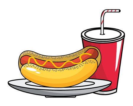 Hot dog and soda design, Fast food urban menu dinner lunch and tasty theme Vector illustration