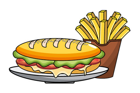 Sandwich design, Fast food urban menu dinner lunch and tasty theme Vector illustration