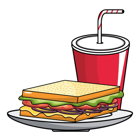 Sandwich and soda design, Fast food urban menu dinner lunch and tasty theme Vector illustration