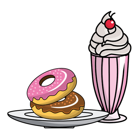 Donuts and milkshake design, Fast food urban menu dinner lunch and tasty theme Vector illustration