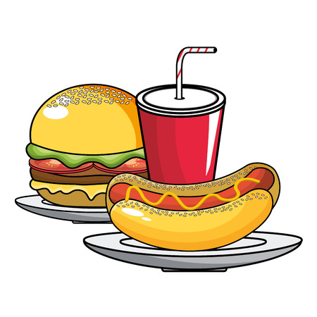 Hot dog hamburger and soda design, Fast food urban menu dinner lunch and tasty theme Vector illustration