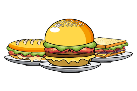 Hamburger and sandwich design, Fast food urban menu dinner lunch and tasty theme Vector illustration
